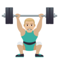 Man Lifting Weights: Medium-Light Skin Tone on JoyPixels 6.0