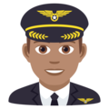 Man Pilot: Medium Skin Tone on JoyPixels 6.0