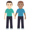 Men Holding Hands: Light Skin Tone, Medium Skin Tone on JoyPixels 6.0