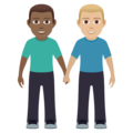 Men Holding Hands: Medium-Dark Skin Tone, Medium-Light Skin Tone on JoyPixels 6.0