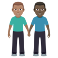 Men Holding Hands: Medium Skin Tone, Dark Skin Tone on JoyPixels 6.0