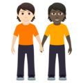 People Holding Hands: Light Skin Tone, Dark Skin Tone on JoyPixels 6.0