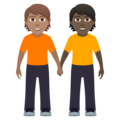 People Holding Hands: Medium Skin Tone, Dark Skin Tone on JoyPixels 6.0