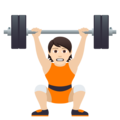 Person Lifting Weights: Light Skin Tone on JoyPixels 6.0