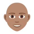 Person: Medium Skin Tone, Bald on JoyPixels 6.0