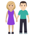 Woman and Man Holding Hands: Medium-Light Skin Tone, Light Skin Tone on JoyPixels 6.0