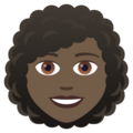Woman: Dark Skin Tone, Curly Hair on JoyPixels 6.0