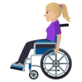 Woman in Manual Wheelchair: Medium-Light Skin Tone on JoyPixels 6.0