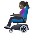 Woman in Motorized Wheelchair: Dark Skin Tone on JoyPixels 6.0
