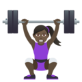 Woman Lifting Weights: Dark Skin Tone on JoyPixels 6.0