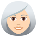 Woman: Light Skin Tone, White Hair on JoyPixels 6.0