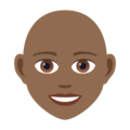 Woman: Medium-Dark Skin Tone, Bald on JoyPixels 6.0