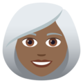 Woman: Medium-Dark Skin Tone, White Hair on JoyPixels 6.0