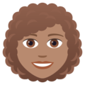 Woman: Medium Skin Tone, Curly Hair on JoyPixels 6.0