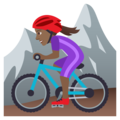 Woman Mountain Biking: Medium-Dark Skin Tone on JoyPixels 6.0