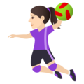Woman Playing Handball: Light Skin Tone on JoyPixels 6.0