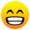 Beaming Face with Smiling Eyes on JoyPixels 6.5