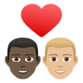 Couple with Heart: Man, Man, Dark Skin Tone, Medium-Light Skin Tone on JoyPixels 6.5