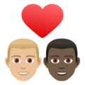 Couple with Heart: Man, Man, Medium-Light Skin Tone, Dark Skin Tone on JoyPixels 6.5