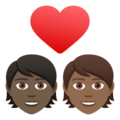 Couple with Heart: Person, Person, Dark Skin Tone, Medium-Dark Skin Tone on JoyPixels 6.5