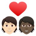 Couple with Heart: Person, Person, Light Skin Tone, Dark Skin Tone on JoyPixels 6.5