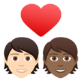 Couple with Heart: Person, Person, Light Skin Tone, Medium-Dark Skin Tone on JoyPixels 6.5