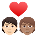 Couple with Heart: Person, Person, Light Skin Tone, Medium Skin Tone on JoyPixels 6.5