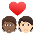 Couple with Heart: Person, Person, Medium-Dark Skin Tone, Light Skin Tone on JoyPixels 6.5