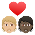 Couple with Heart: Person, Person, Medium-Light Skin Tone, Dark Skin Tone on JoyPixels 6.5