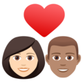 Couple with Heart: Woman, Man, Light Skin Tone, Medium Skin Tone on JoyPixels 6.5