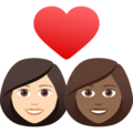Couple with Heart: Woman, Woman, Light Skin Tone, Medium-Dark Skin Tone on JoyPixels 6.5