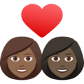 Couple with Heart: Woman, Woman, Medium-Dark Skin Tone, Dark Skin Tone on JoyPixels 6.5