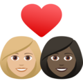 Couple with Heart: Woman, Woman, Medium-Light Skin Tone, Dark Skin Tone on JoyPixels 6.5