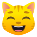Grinning Cat with Smiling Eyes on JoyPixels 6.5