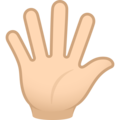 Hand with Fingers Splayed: Light Skin Tone on JoyPixels 6.5