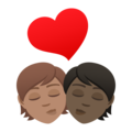 Kiss: Person, Person, Medium Skin Tone, Dark Skin Tone on JoyPixels 6.5
