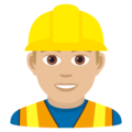 Man Construction Worker: Medium-Light Skin Tone on JoyPixels 6.5