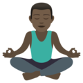 Man in Lotus Position: Dark Skin Tone on JoyPixels 6.5