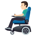 Man in Motorized Wheelchair: Light Skin Tone on JoyPixels 6.5