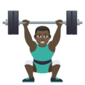 Man Lifting Weights: Dark Skin Tone on JoyPixels 6.5