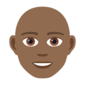 Man: Medium-Dark Skin Tone, Bald on JoyPixels 6.5
