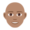 Man: Medium Skin Tone, Bald on JoyPixels 6.5