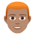 Man: Medium Skin Tone, Red Hair on JoyPixels 6.5