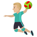 Man Playing Handball: Medium-Light Skin Tone on JoyPixels 6.5