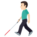 Man with White Cane: Light Skin Tone on JoyPixels 6.5