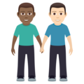Men Holding Hands: Medium-Dark Skin Tone, Light Skin Tone on JoyPixels 6.5