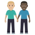 Men Holding Hands: Medium-Light Skin Tone, Dark Skin Tone on JoyPixels 6.5