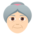 Old Woman: Light Skin Tone on JoyPixels 6.5