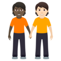 People Holding Hands: Dark Skin Tone, Light Skin Tone on JoyPixels 6.5