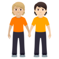 People Holding Hands: Medium-Light Skin Tone, Light Skin Tone on JoyPixels 6.5